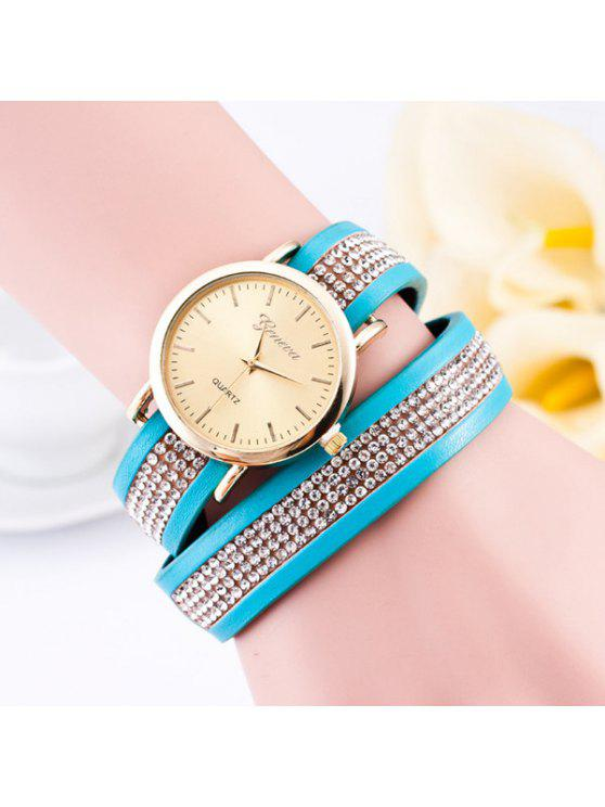 lady Rhinestone Faux Leather Wrap Bracelet Watch - AZURE