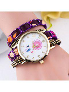 Feather Floral Wrap Bracelet Quartz Watch - Purple