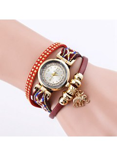 Faux Leather Rhinestone Elephant Bracelet Watch - Red