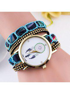 PU Leather Feather Wrap Bracelet Watch - Blue