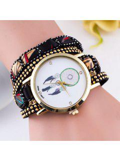 PU Leather Feather Wrap Bracelet Watch - Black