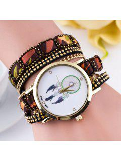 PU Leather Feather Wrap Bracelet Watch - Brown