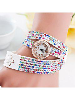 PU Leather Rhinestoned Flower Bracelet Watch - White