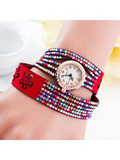 PU Leather Rhinestoned Flower Bracelet Watch - Red