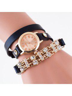 Bracelet Montre Avec Strass Bande De PU Cuir - Noir