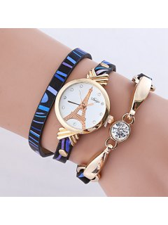 PU Leather Rhinestone Eiffel Tower Bracelet Watch - Blue