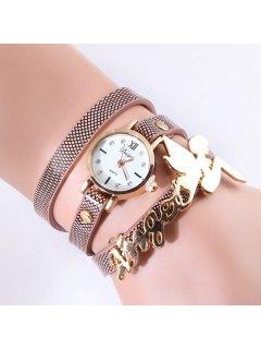PU Leather Angel Fairy Rhinestone Bracelet Watch - Brown