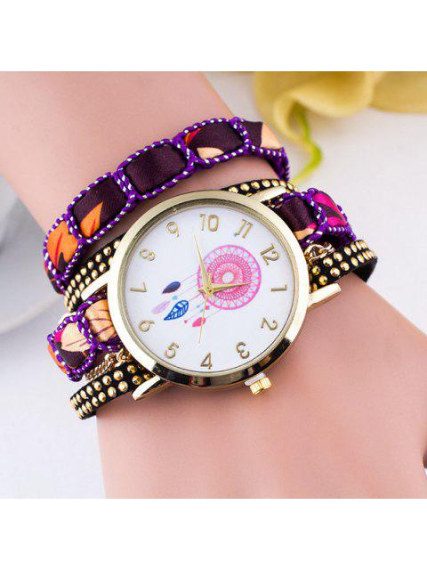 online Feather Floral Wrap Bracelet Quartz Watch - PURPLE  Mobile