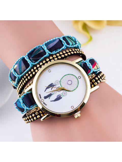 Plume Bracelet Montre avec Bande de PU Cuir - Bleu  Mobile
