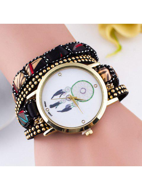 trendy PU Leather Feather Wrap Bracelet Watch - BLACK  Mobile