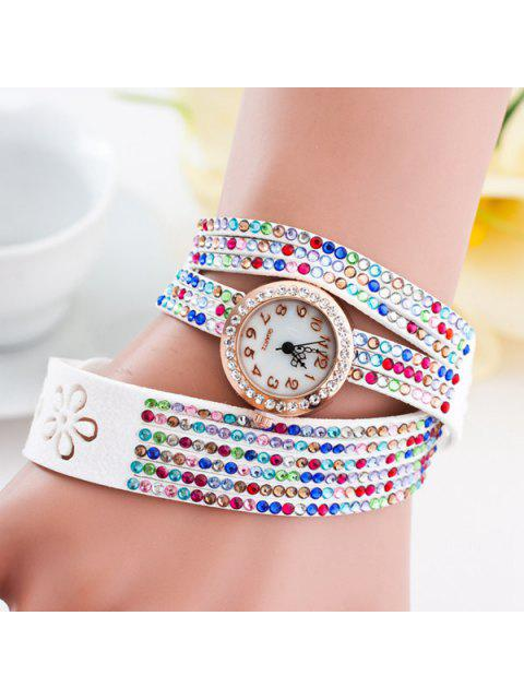 fancy PU Leather Rhinestoned Flower Bracelet Watch -   Mobile