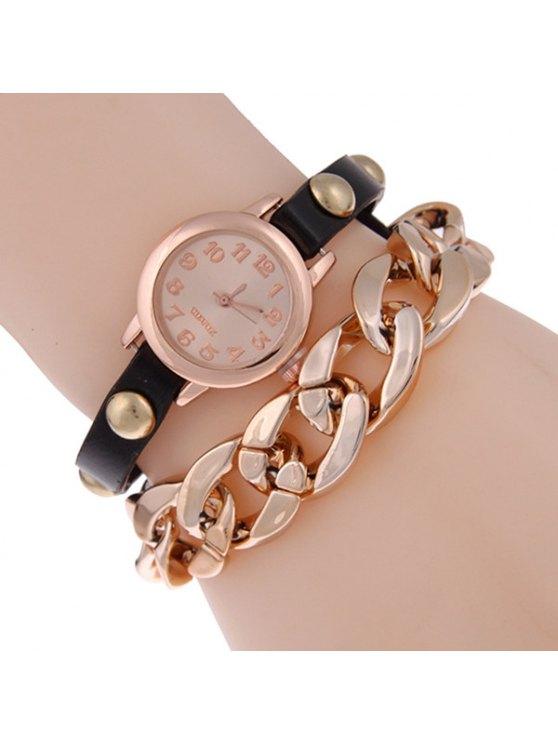 ladies Faux Leather Alloy Chain Bracelet Watch - BLACK