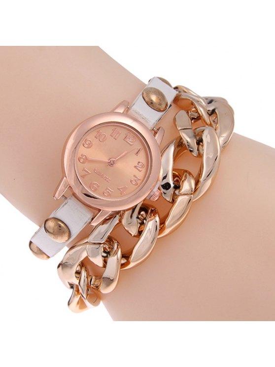 Montre à style de bracelet à chaîne en cuir faux et alliage - Blanc