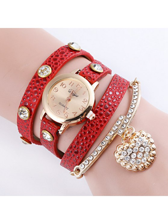 shops Rhinestone Heart Wrap Bracelet Quartz Watch - RED