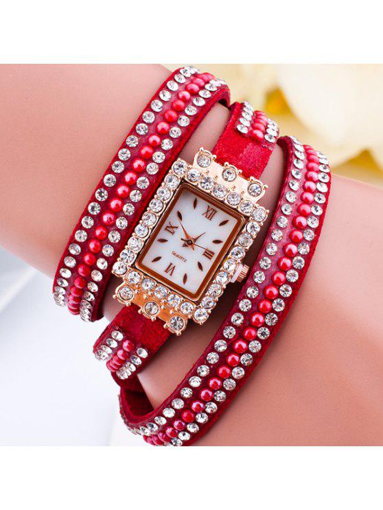 shops Rhinestone Geometric Dial Plate Bracelet Watch - RED