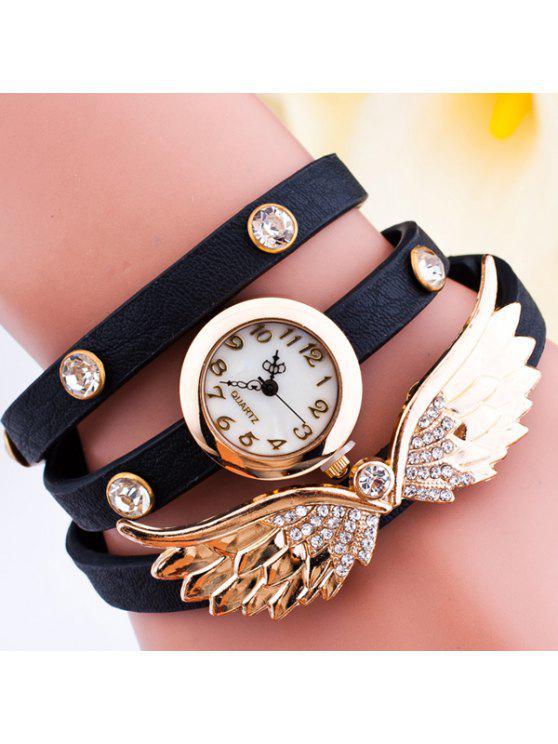 women's Rhinestone Angel Wings Wrap Bracelet Watch - BLACK