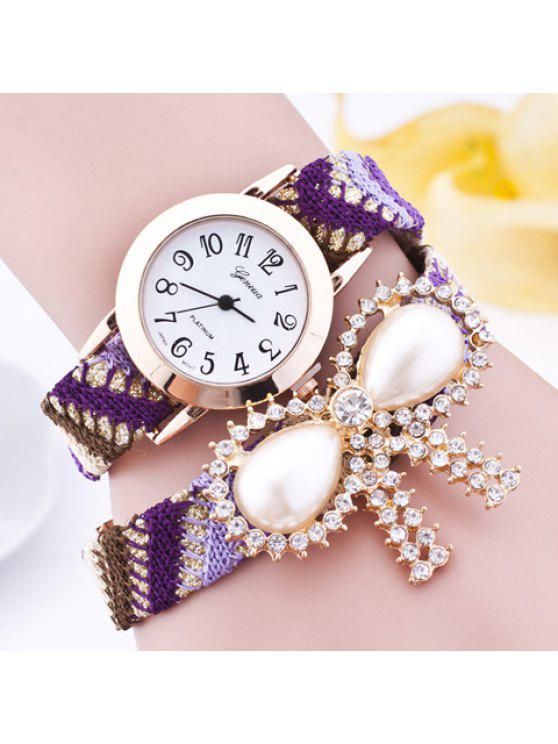 trendy Rhinestone Faux Pearl Bows Bracelet Watch - PURPLE