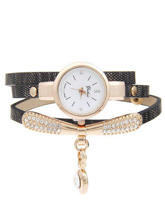 outfit Rhinestone Faux Leather Bracelet Watch - BLACK