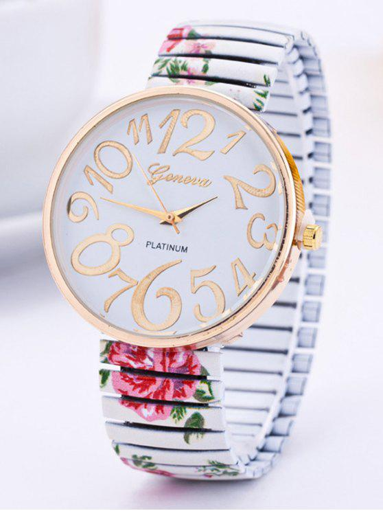 latest Alloy Flower Leaves Quartz Watch - WHITE