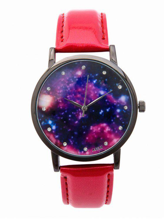 fancy Rhinestone Starry Sky PU Leather Watch - RED