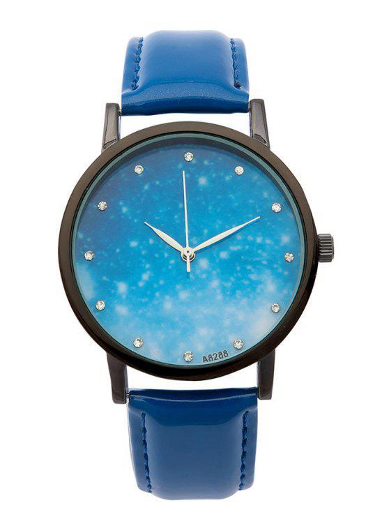 unique Rhinestone Faux Leather Starry Sky Watch - BLUE