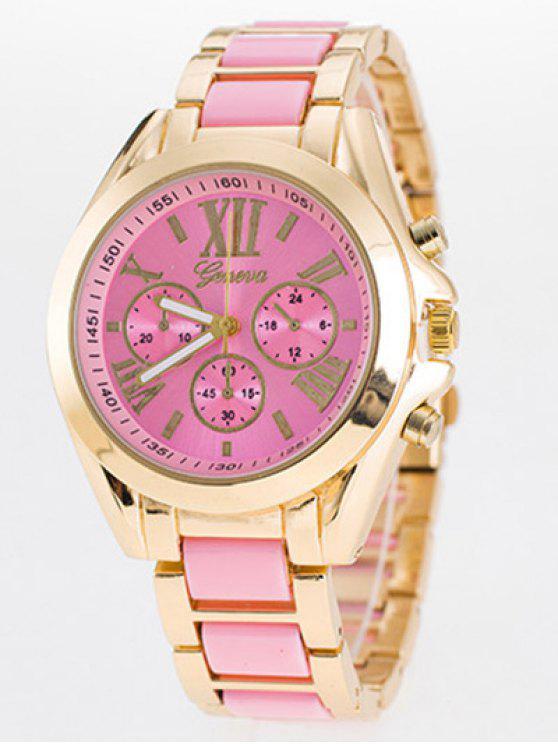 affordable Steel Band Quartz Roman Numerals Watch - PINK