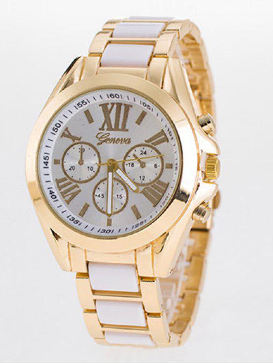 ladies Steel Band Quartz Roman Numerals Watch - WHITE