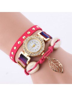 Rhinestone Leaf Conch Bracelet Quartz Watch - Red