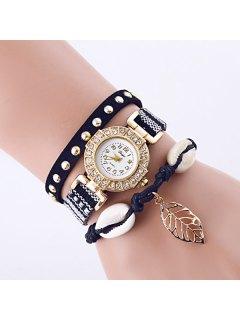 Rhinestone Leaf Conch Bracelet Quartz Watch - Black