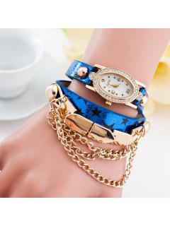 Rhinestone Oval Dial Plate Pentagram Bracelet Watch - Blue