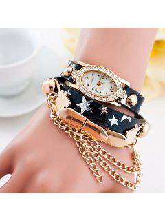 Rhinestone Oval Dial Plate Pentagram Bracelet Watch - Black