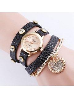Rhinestone Heart Wrap Bracelet Quartz Watch - Black