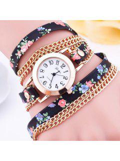 Faux Leather Flower Wrap Bracelet Watch - Black