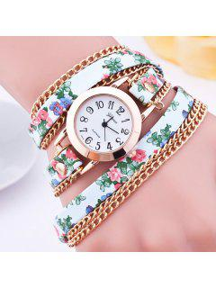 Faux Leather Flower Wrap Bracelet Watch - Green