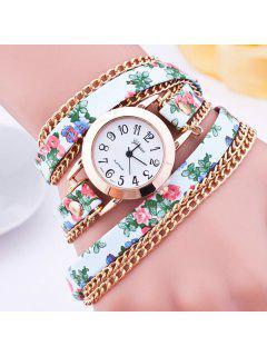 Faux Leather Flower Wrap Bracelet Watch - Green