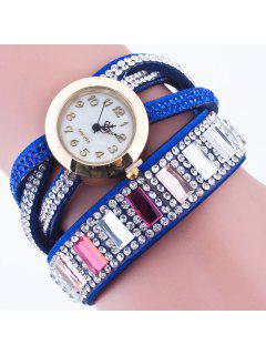 Faux Gem Geometric Wrap Bracelet Watch - Sapphire Blue