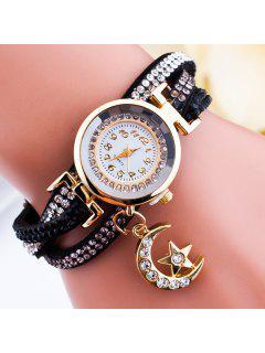 Rhinestone Moon Star Wrap Bracelet Watch - Black