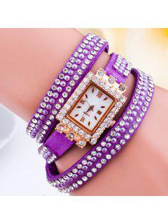 Rhinestone Geometric Dial Plate Bracelet Watch - Purple