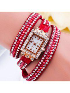 Rhinestone Geometric Dial Plate Bracelet Watch - Red