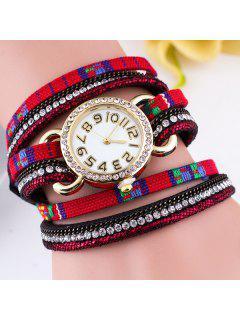 Ethnic Rhinestone Braid Wrap Bracelet Watch - Red