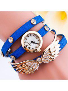 Bracelet Montre Décoré Avec Strass Ailes D'Angel - Bleu Saphir