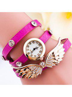 Bracelet Montre Décoré Avec Strass Ailes D'Angel - Rose