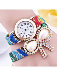 Rhinestone Faux Pearl Bows Bracelet Watch - Green