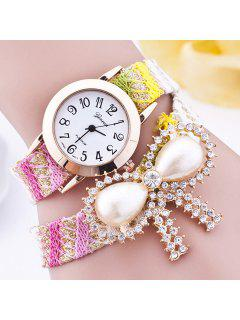 Rhinestone Faux Pearl Bows Bracelet Watch - Yellow
