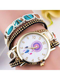 Circle Dial Plate Feather Bracelet Watch - White