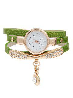 Rhinestone Faux Leather Bracelet Watch - Green