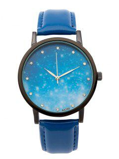 Rhinestone Faux Leather Starry Sky Watch - Blue