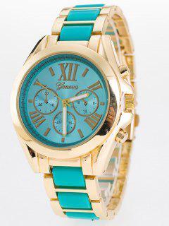 Steel Band Quartz Roman Numerals Watch - Mint Green
