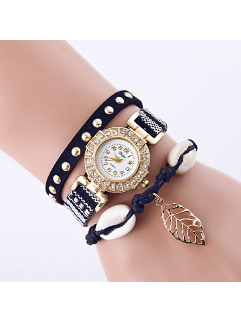 womens Rhinestone Leaf Conch Bracelet Quartz Watch -   Mobile