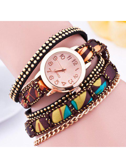 chic Faux Leather Wrap Bracelet Quartz Watch - BROWN  Mobile